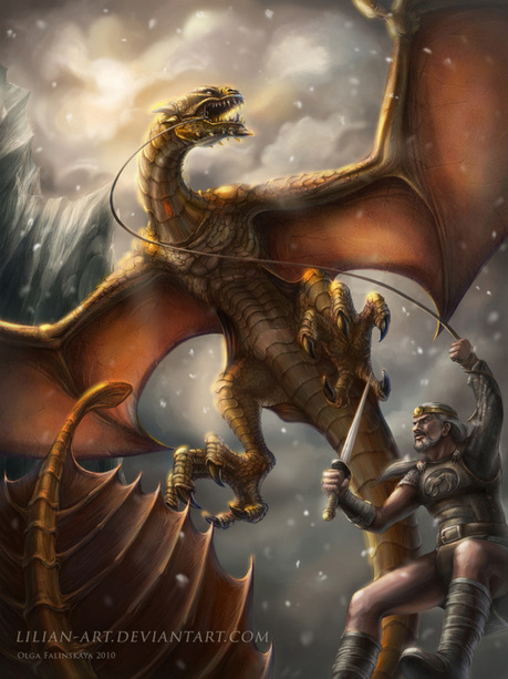 beowulf the fight with himself Beowulf establishes himself as a hero by fighting the dragon, exemplifing strength and courage when fighting the dragon, and sacrificing himself so that others can.